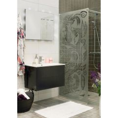 Duschvägg+dörr Noro Frost Concept 70/80/90/115 cm designglas Happy Going