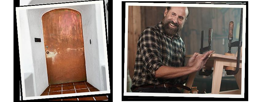Bild på Peter Stormare och en dörr med kopparplåt på.